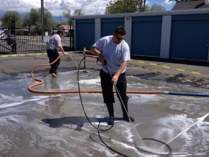 Powerwashing Soot-Stained Concrete