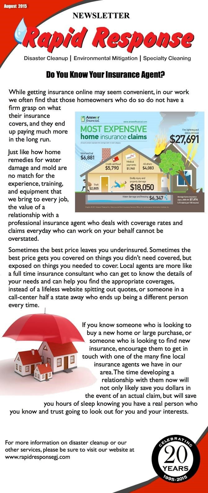 August Newsletter-Do You Know Your Insurance Agent