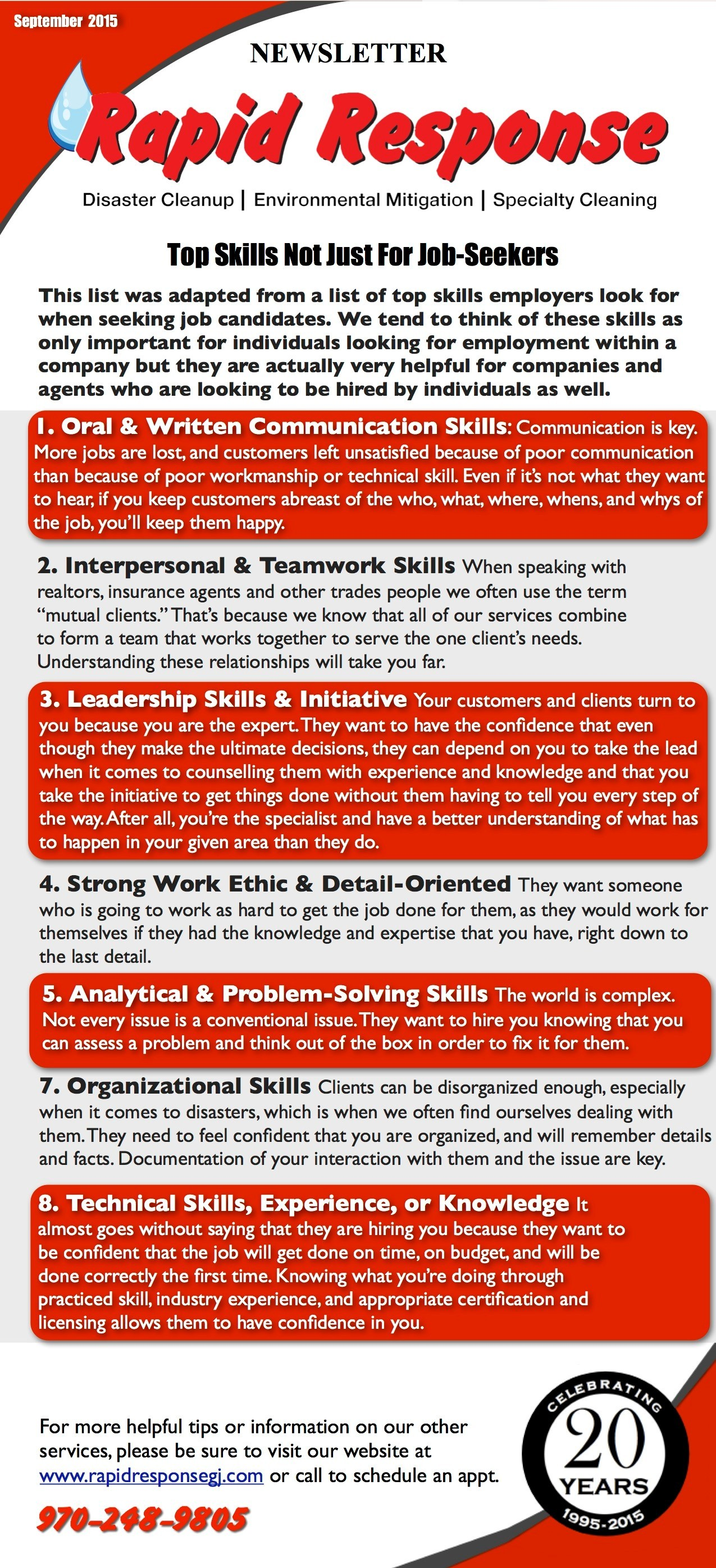 September Newsletter-Top Skills are Not Just for Job Seekers