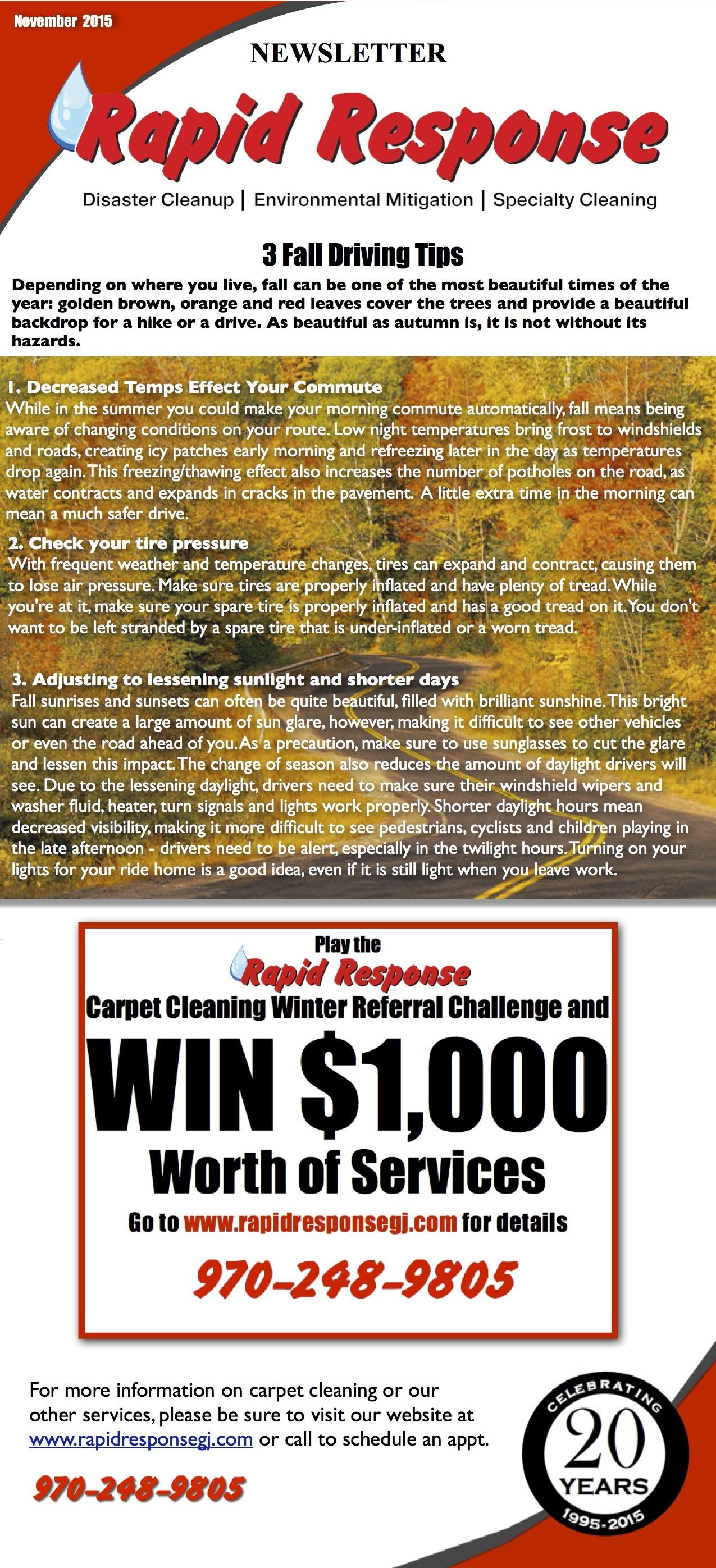 November Newsletter: Fall Driving Tips