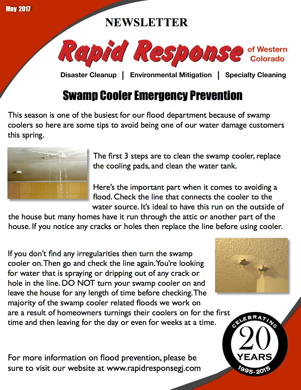 May Newsletter: Swamp Cooler Emergency Prevention